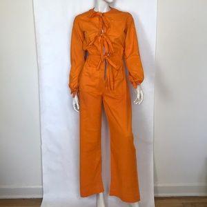 Vtg 70s orange boiler suit coveralls jumpsuit XS